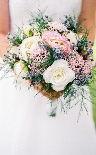 Modern and organic wedding bouquet idea - white roses, pink yarrow and thistle - colorful and unique! {Michelle Lea Photographie}