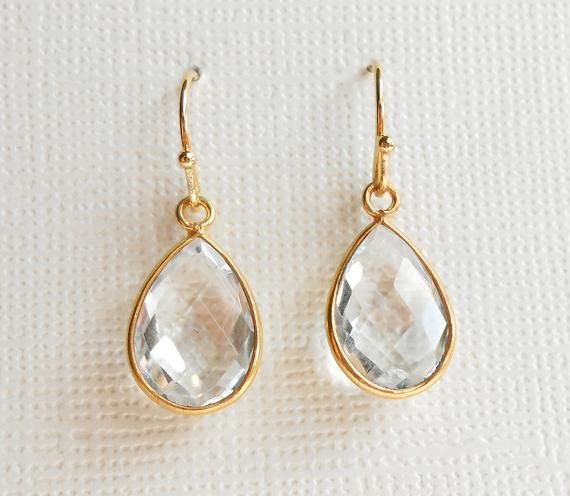 Sterling Silver Gold Plated Vermeil Rock Crystal Clear Quartz Dangle Earrings