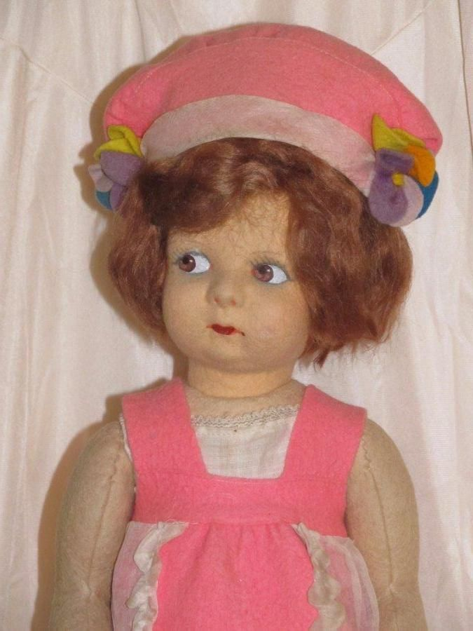 "Exceptional 16"" Vintage All Original Lenci style Doll Made Italy, Pink Felt Dres"