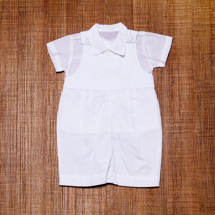 Jardineira Infantil Masculino Para Batizado Branco - R$ 115,00 no MercadoLivre