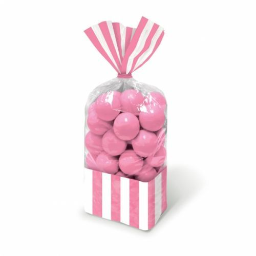 Baby pink stripe cello sweet bags http://www.wfdenny.co.uk/p/baby-pink-striped-sweet-bags/3578/