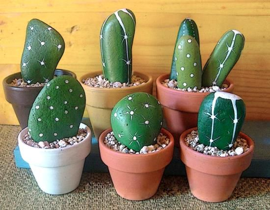 cacti and handmade home decorations inspired by cacti ~ These are painted on rocks