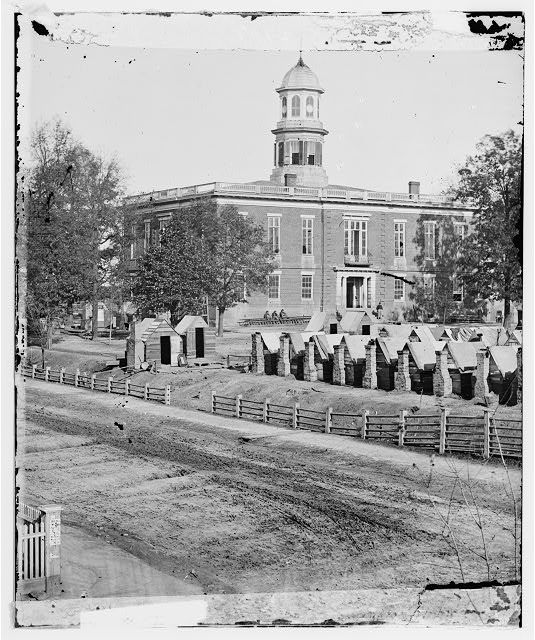Atlanta, Ga. City Hall; camp of 2d Massachusetts Infantry on the grounds [1864]
