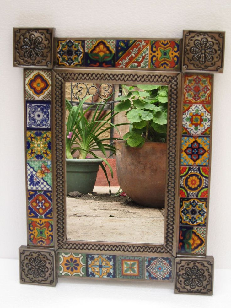 MIRROR punched tin mixed talavera tile mexican folk art mirrors day of the dead #Handmade #Southwestern