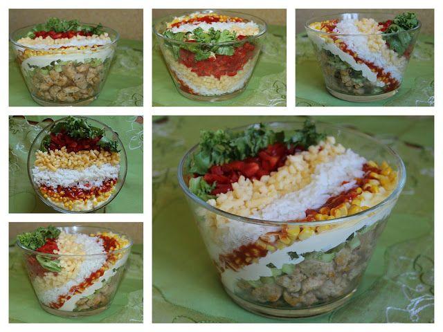 Przepisy Kulinarne: Sałatka warstwowa gyros z ryżem i mielonym żółtym ...