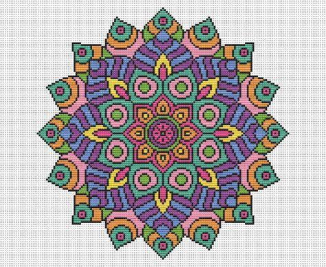 MODELO Declaración Mandala cruz puntada tabla - punto de Cruz moderno brillante - budista multicolores símbolo
