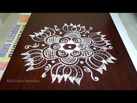 Very simple rangoli designs, simple daily kolam designs with 7x4 dots, muggulu with dots - YouTube