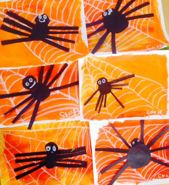 Halloween Art Lesson, Spiders, 1st grade art lesson, painting, collage www.ArtTeacherinLA.com