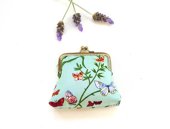 Blue butterfly coin purse clutch leaf botanical tree by maplemist