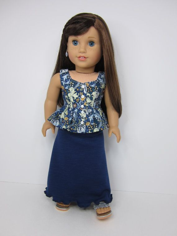 American girl doll clothes - Trendy dark blue maxi skirt and pretty blue print Surfrider top by JazzyDollDuds.