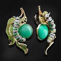 """Серьги """"Гусеница"""" с цветными камнями и бриллиантами в желтом золоте 750 пробы (арт. 28283)"""