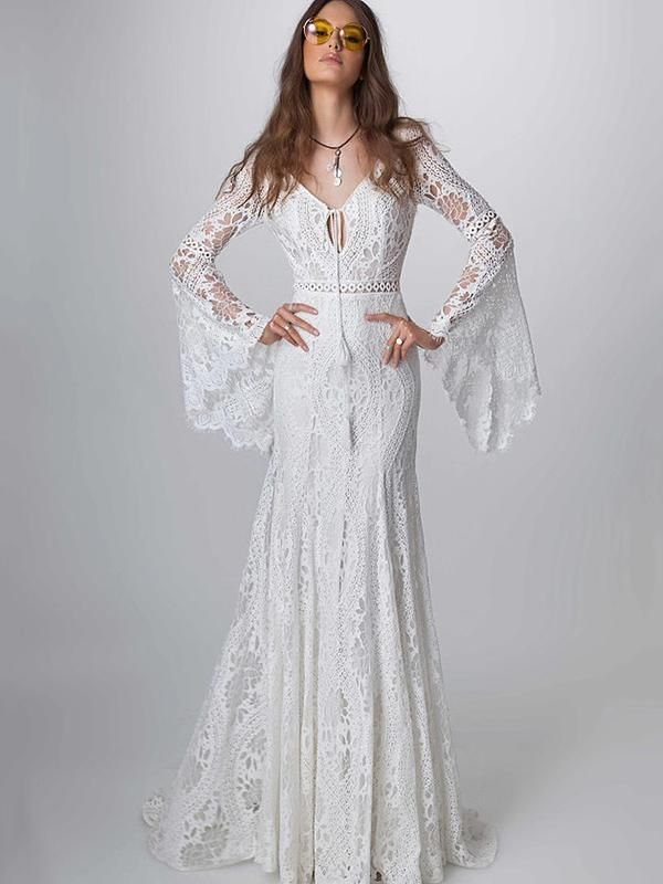 b821987e6b59 Lace Hollow Flared Sleeves Evening Dress in 2019 | OSHOPLIVE ...