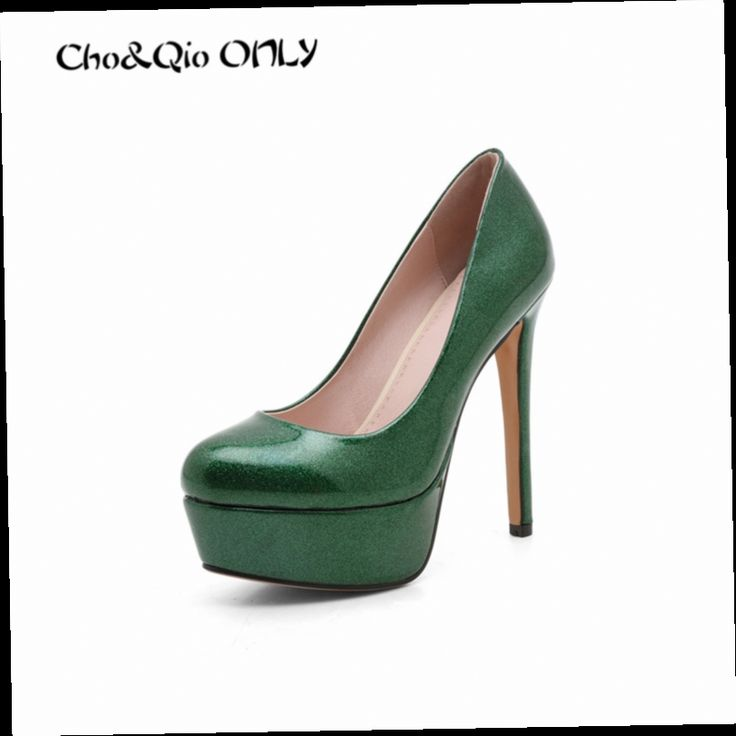 54.90$  Buy now - http://alil3q.worldwells.pw/go.php?t=32787245249 - Brand Specular Reflection Patent Platforms High Heels Women Shoes Round Toe Sexy Brand High Heeled Shoes Women's  Ladies Pumps