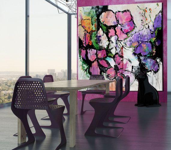 Grande astratto fiore dipinto su tela rosa giallo quadrato