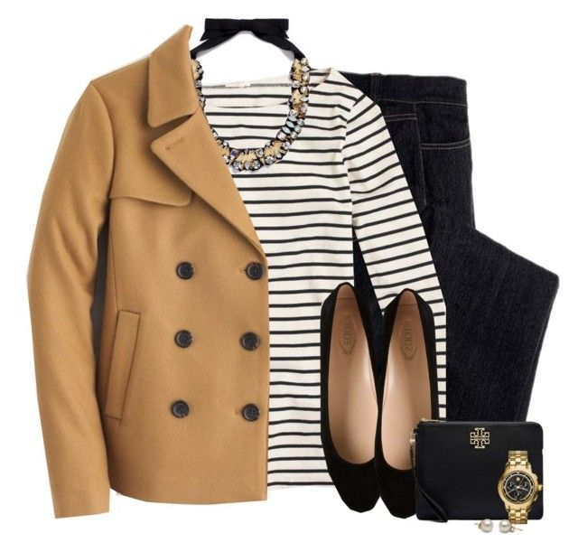 """""""J.crew peacoat, statement necklace & striped top"""" by steffiestaffie ❤ liked on Polyvore featuring Avon, J.Crew, Tod's and Tory Burch"""