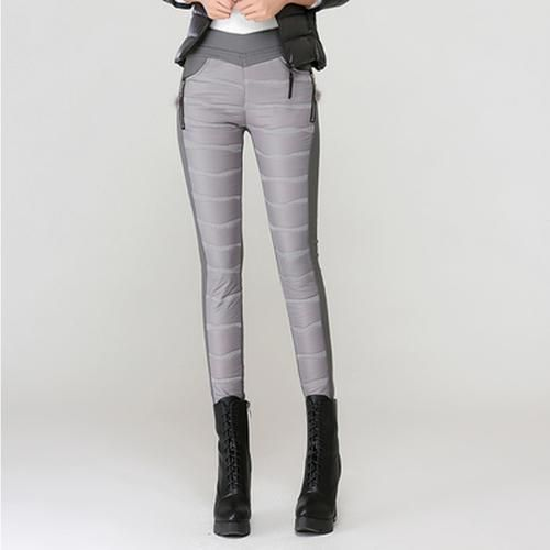 Thickening Down Cotton Trousers Elastic Waist Warm Winter Pencil Pants Plus Size Leggings Grey Black Red 2018 grey L 2