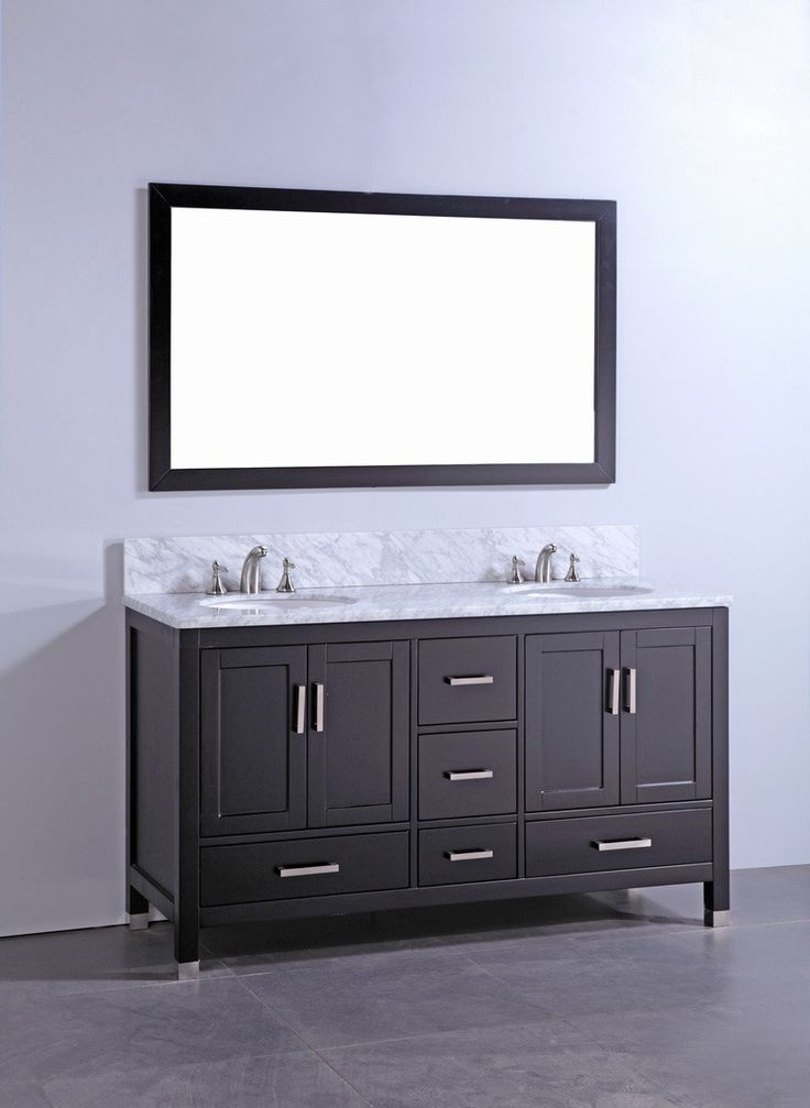 Picture Collection Website Legion inch Contemporary Bathroom Vanity Espresso Finish Carrara White Marble Top Solid Wood With Mirror No Faucet White Ceramic Sink
