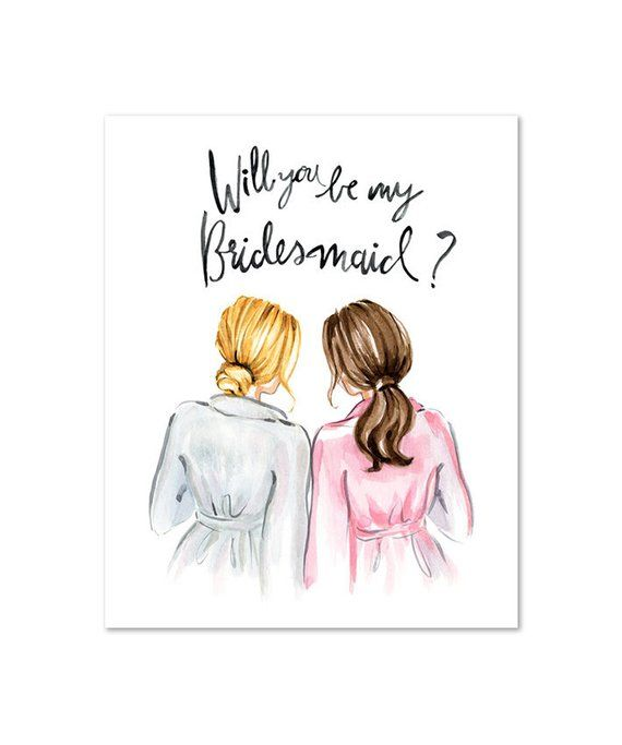 Personalised Will you be my Maid of Honour Card Maid of Honor White Roses Bridesmaid Card Proposal Bride /& Bridesmaid Illustration