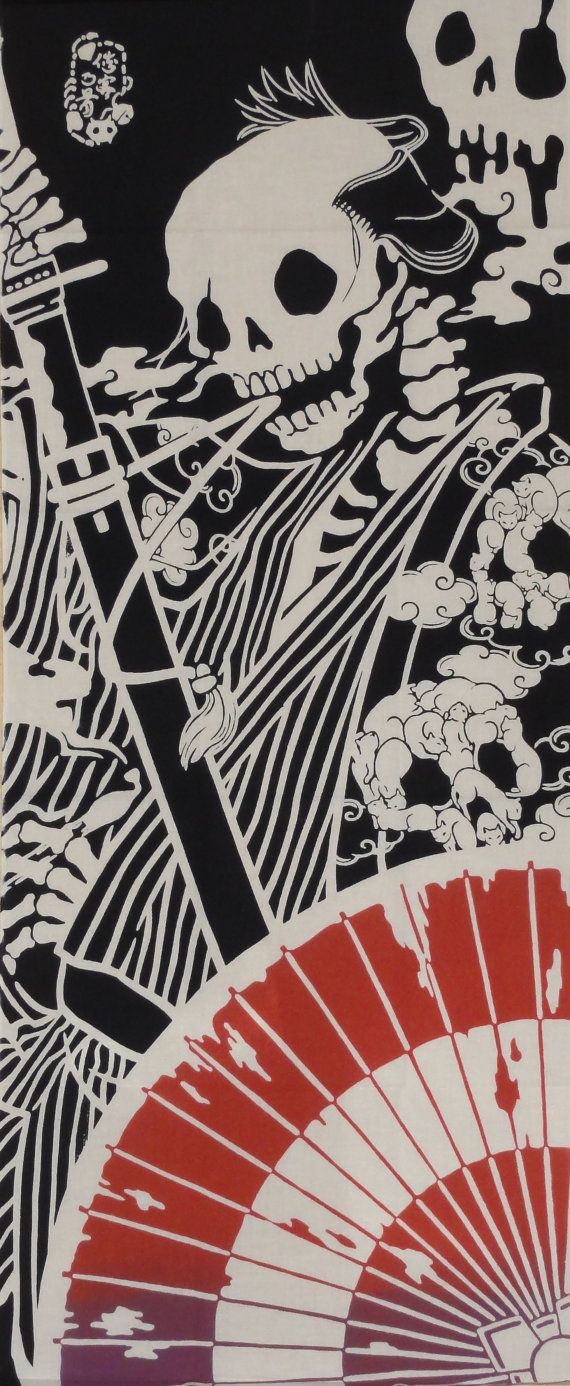 Tenugui Japanese Fabric 'Surreal Samurai' by kyotocollection