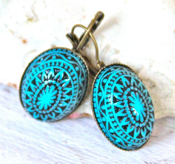 Turquoise And Black Mosaic Oval Drop Earrings Egyptian Bohemian Southwestern Antiqued Br Lever Back Dangle Earring Bridal