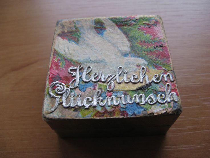 Voor in het poppenhuis...prachtige taartdoos (Herzlichen Glückwunsch ) mét taart...ca. 1920. door AntiqueshopNL op Etsy