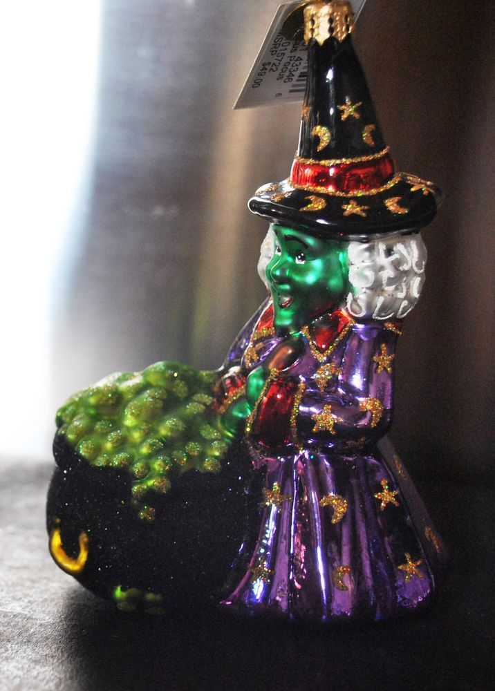 NEW Christopher RADKO Glass Christmas Ornament HOCUS POKUS Halloween Green Witch