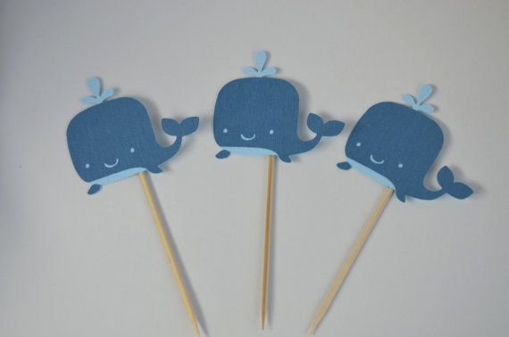 12 Whale Cupcake topper Whale Baby Shower Cake by FreshGifts, $18.00