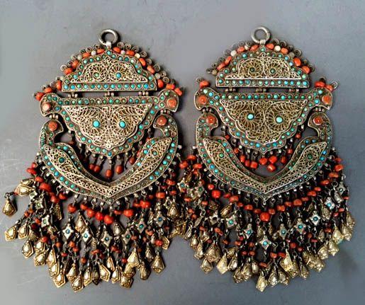 Double pendants Koran cases with filigree work inlaid turquoise and coral , Khiva area, Uzbekistan lt 19th c