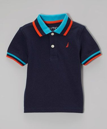 This Navy & Orange Polo - Infant, Toddler & Boys by Nautica is perfect! #zulilyfinds