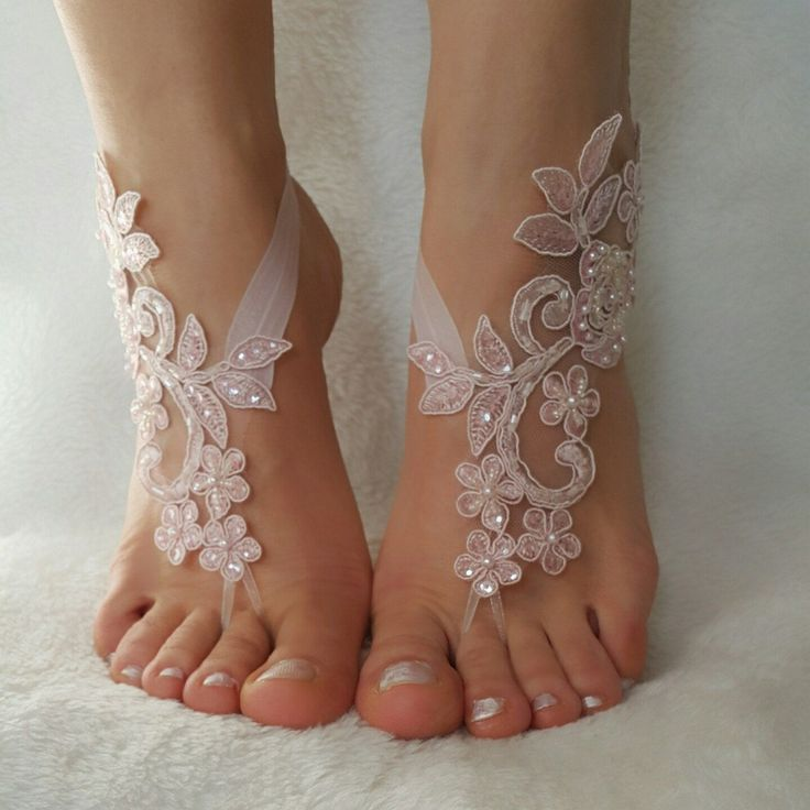 blush pink beaded beach wedding barefoot sandals country wedding shoes sandles…