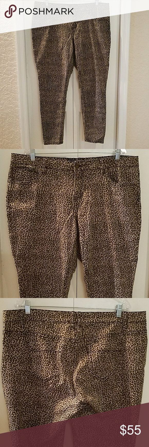 Leopard stretch jeans plus size 20 Offered is a wickedly sexy pair of factory faded leopard stretch jeans. Immaculate gently worn condition (worn twice, woolite gentle/washed inside out and gentle dry). Plus size 20W. Made by Cato. Slim leg. These are the perfect rockabilly jeans for spring! Cato Jeans