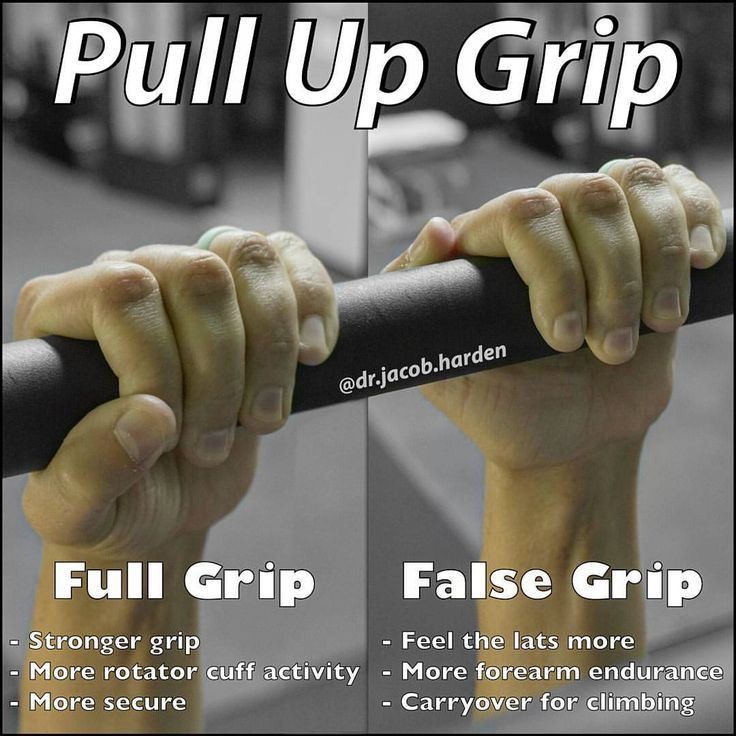 WHICH GRIP IS BEST FOR PULL UPS?  There are ✌ two predominant grips for performing pull ups...the thumb around full grip or the thumbless false grip. I got asked a lot about them in yesterday's pull up post so here is my opinion on the subject. . Both can offer benefits so use the one that is most comfortable for you and best suits your needs. How might they help you? . Full Grip: 🔸Grip is stronger with the thumb wrapped, which can lead to more total muscle activation. So use this if…