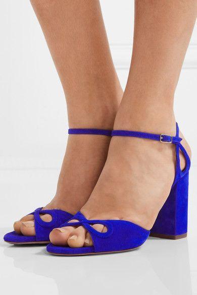 Aquazzura - Vera Cutout Suede Sandals - Bright blue - IT35.5