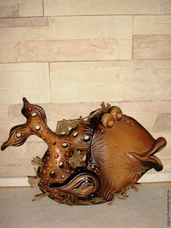 Купить Панно Золотая Рыбка керамика - коричневый, рыба, рыбалка, панно рыба, дача