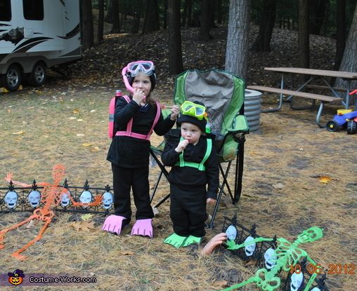 Angie: My daughter 3 years old and son 18 months are wearing homemade scuba costumes that my husband and I made. We both just started scuba diving and my oldest child...