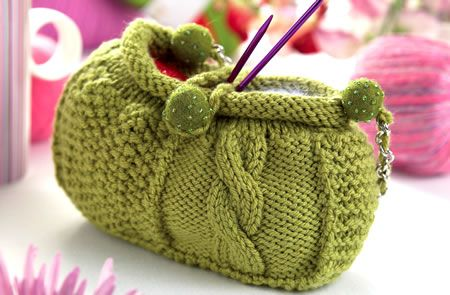 *free pattern- 'Audrey' a Sampler Bag of sorts! combines cables, moss stitch, felted beads & a silver chain strap! the *way* bag is worked make it A Very Simple Knit: the moss stitch & cable sections are worked separately as squares, then seamed (and 2 different seams are utilized, providing good practice in seaming in a compact & fast manner!) *from Let's Knit