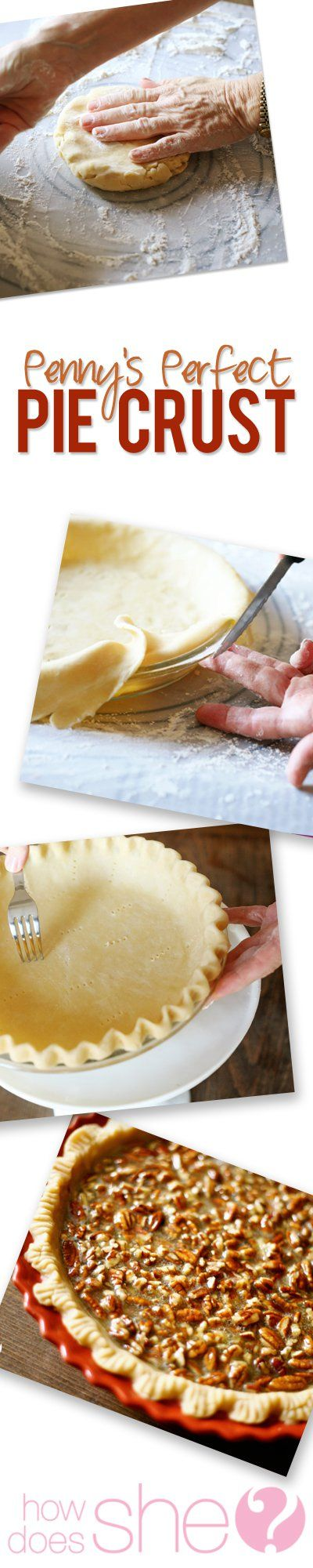 Pennys perfect pie crust 6 cups of flour (I use all-purpose) 3 cups of butter flavored Crisco (No other kind of shortening works as well) 3 tsp. Salt 1 to 1 1/3 cups water  For me this makes three double pies or six single shell pies.