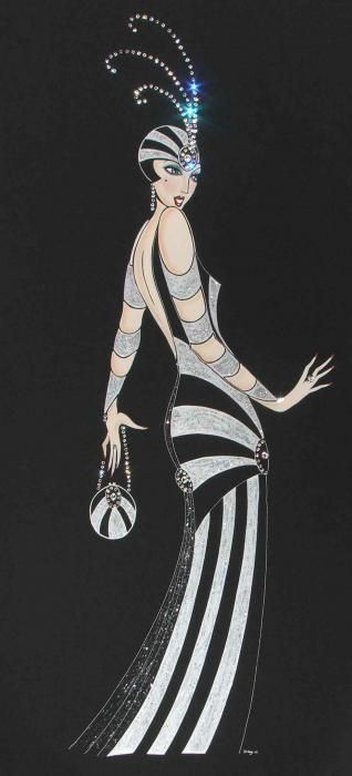 Art Deco Lady - Tallulah Painting by Diane (Di) Melville Kaye