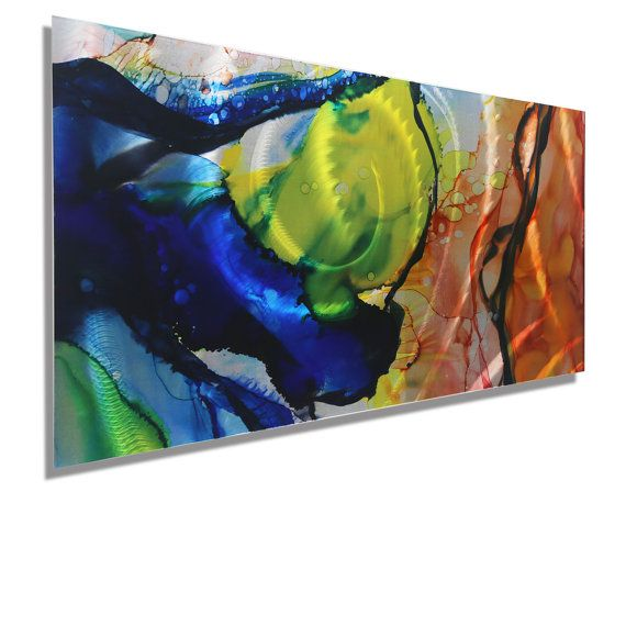 Blue Yellow & Orange Abstract Metal Wall by JonAllenMetalArt