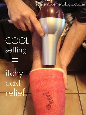 When you've got an itch under your cast that you can't reach...use the cool setting on a hair dryer or compressed air.