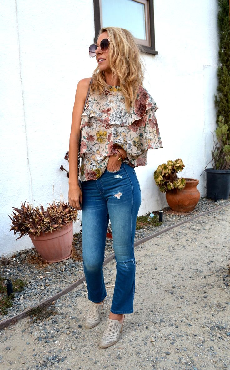 The Cutest One Shoulder Ruffle Top - Jaclyn De Leon Style - fall fashion outfit inspiration + casual street style + neutral floral top with ruffles + crop denim + affordable fashion + charlotte russe + slip on mules + modern street style + bohemian fashion + boho chic style