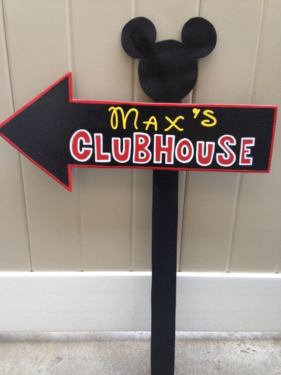SALE Wood Micky Mouse or Minnie Mouse Clubhouse Sign - Outdoor Post - Mickey Mouse - Birthday Party Decorations - All Black - Unique design on Etsy, $32.00