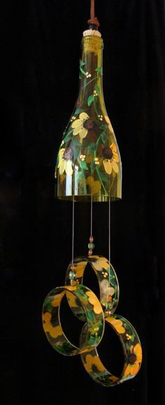 Wind Chime, Black Eyed-Susan, made from recycled wine bottle - transformed into a Wine-Chime!