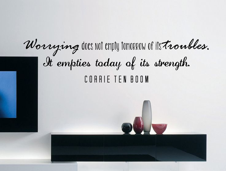 """Corrie Ten Boom Quote Inspirational Motivational Wall Decal Home Décor """"Worry Does Not Empty Tomorrow"""" 42x10 Inches"""