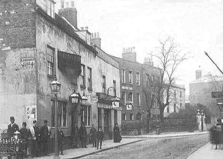 """Red Lion - Stoke Newington 1890 At one time became part of the 'Tup' chain; and was known locally as the """"Stoke Tup""""."""