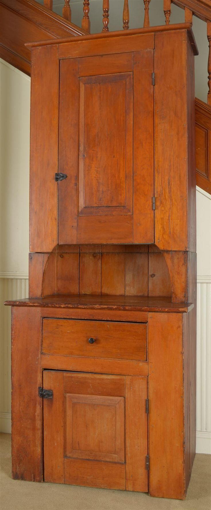 Addition union furniture pany antiques likewise union furniture pany - Early American Stained Pine Two Part Cupboard Oh How Lovely