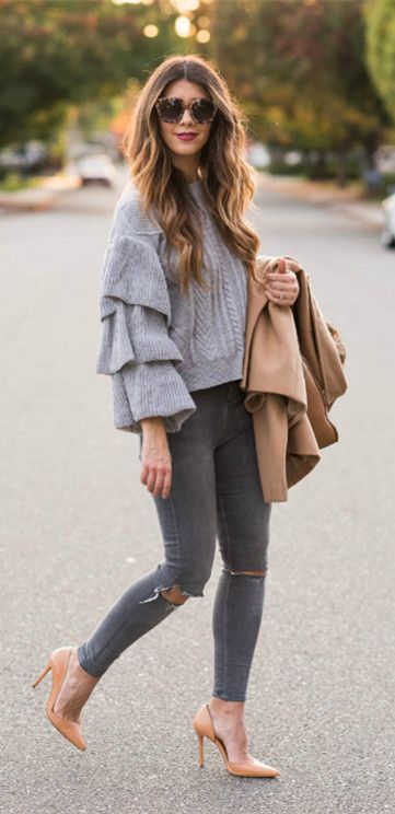 Sweater weather dilemma? Keep it cute with this cable knit sweater thanks to its tiered flare sleeves reminiscent of girlish ruffles. Grey Cable Knit Sweater with Tiered Flare Sleeves featured by LaTisha Springer from The Girl in the Yellow Dress Blog