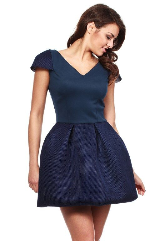 Formal dress in shades of dark blue