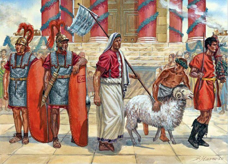 Cultes et croyances, rites, le sacrifice d'un animal en 101 av. J.C. dans la rome antique afin de satisfaire les Dieux.