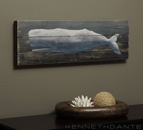 Wood Whale Art Blue Wall Hanging Distressed Folk by KennethDante, $98.00